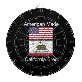 """American Born..California Bred"" Flag Design Dartboard"