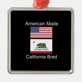 """American Born..California Bred"" Flag Design Metal Ornament"