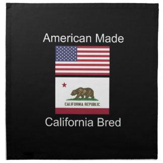 """""""American Born..California Bred"""" Flag Design Napkin"""