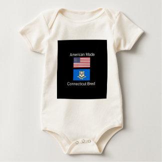 """American Born..Connecticut Bred"" Flag Design Baby Bodysuit"