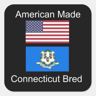 """""""American Born..Connecticut Bred"""" Flag Design Square Sticker"""