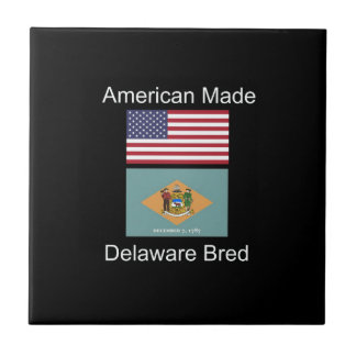 """American Born..Delaware Bred"" Flag Design Ceramic Tile"