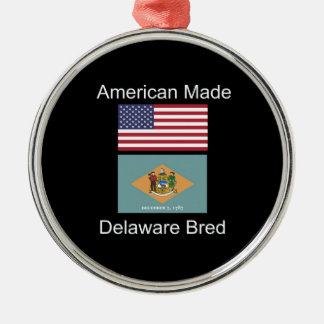 """American Born..Delaware Bred"" Flag Design Metal Ornament"