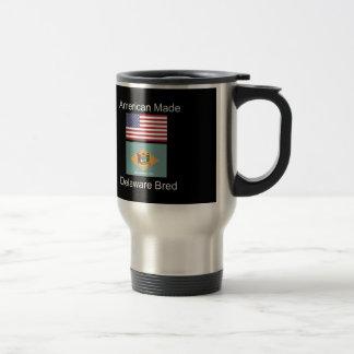 """American Born..Delaware Bred"" Flag Design Travel Mug"