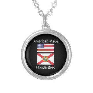 """American Born..Florida Bred"" Flags and Patriotism Silver Plated Necklace"