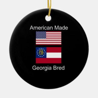 """American Born..Georgia Bred"" Flags and Patriotism Ceramic Ornament"