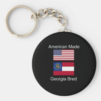 """American Born..Georgia Bred"" Flags and Patriotism Key Ring"