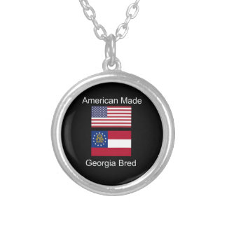 """American Born..Georgia Bred"" Flags and Patriotism Silver Plated Necklace"
