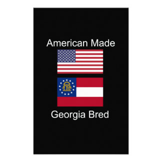 """""""American Born..Georgia Bred"""" Flags and Patriotism Stationery Design"""