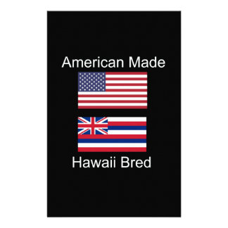 """""""American Born..Hawaii Bred"""" Flags and Patriotism Personalized Stationery"""