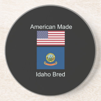 """American Born..Idaho Bred"" Flags and Patriotism Coaster"