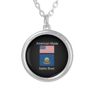 """""""American Born..Idaho Bred"""" Flags and Patriotism Silver Plated Necklace"""