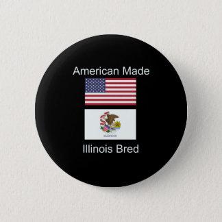 """American Born..Illinois Bred"" Flag Design 6 Cm Round Badge"