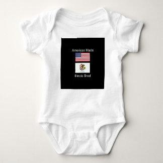 """American Born..Illinois Bred"" Flag Design Baby Bodysuit"