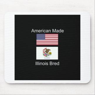"""American Born..Illinois Bred"" Flag Design Mouse Pad"