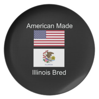 """American Born..Illinois Bred"" Flag Design Party Plate"