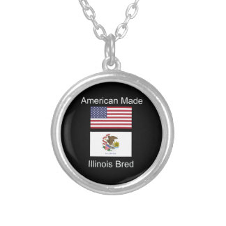"""American Born..Illinois Bred"" Flag Design Silver Plated Necklace"