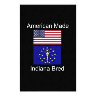 """""""American Born..Indiana Bred"""" Flags and Patriotism Custom Stationery"""