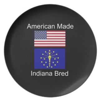 """American Born..Indiana Bred"" Flags and Patriotism Plate"