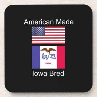 """American Born..Iowa Bred"" Flags and Patriotism Coaster"