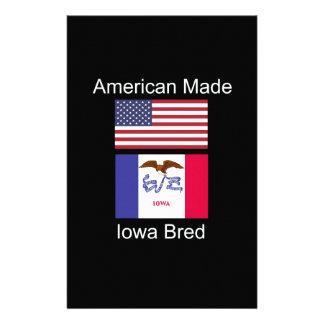 """American Born..Iowa Bred"" Flags and Patriotism Custom Stationery"