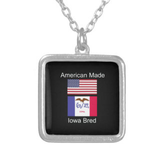 """""""American Born..Iowa Bred"""" Flags and Patriotism Silver Plated Necklace"""