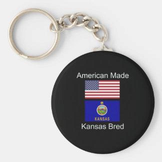 """American Born..Kansas Bred"" Flags and Patriotism Key Ring"