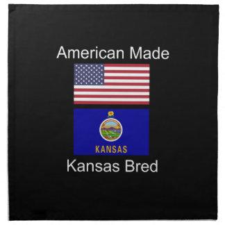 """American Born..Kansas Bred"" Flags and Patriotism Napkin"