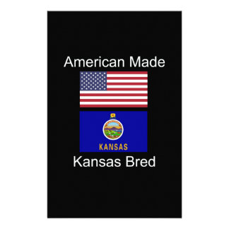 """""""American Born..Kansas Bred"""" Flags and Patriotism Personalized Stationery"""