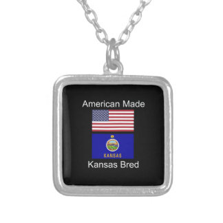 """""""American Born..Kansas Bred"""" Flags and Patriotism Silver Plated Necklace"""