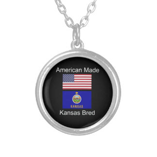 """American Born..Kansas Bred"" Flags and Patriotism Silver Plated Necklace"