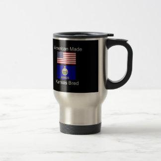 """American Born..Kansas Bred"" Flags and Patriotism Travel Mug"