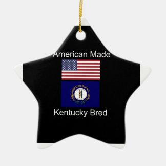 """American Born..Kentucky Bred"" Flag Design Ceramic Ornament"