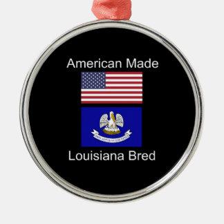 """""""American Born..Louisiana Bred"""" Flag Design Metal Ornament"""