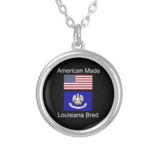 """American Born..Louisiana Bred"" Flag Design Silver Plated Necklace"