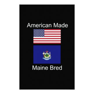 """""""American Born..Maine Bred"""" Flags and Patriotism Customized Stationery"""