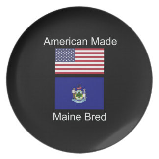 """""""American Born..Maine Bred"""" Flags and Patriotism Plate"""