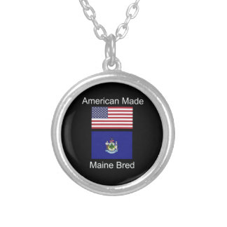 """""""American Born..Maine Bred"""" Flags and Patriotism Silver Plated Necklace"""