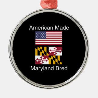 """American Born..Maryland Bred"" Flag Design Metal Ornament"