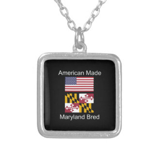 """""""American Born..Maryland Bred"""" Flag Design Silver Plated Necklace"""