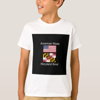 """American Born..Maryland Bred"" Flag Design T-Shirt"