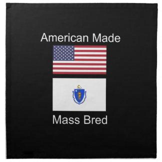 """American Born..Massachusetts Bred"" Flag Design Napkin"