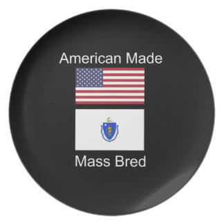 """American Born..Massachusetts Bred"" Flag Design Party Plate"