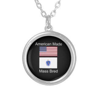 """American Born..Massachusetts Bred"" Flag Design Silver Plated Necklace"