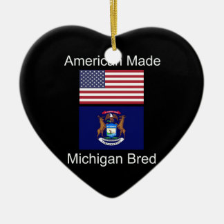 """American Born..Michigan Bred"" Flag Design Ceramic Heart Decoration"