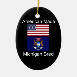 """American Born..Michigan Bred"" Flag Design Ceramic Oval Decoration"