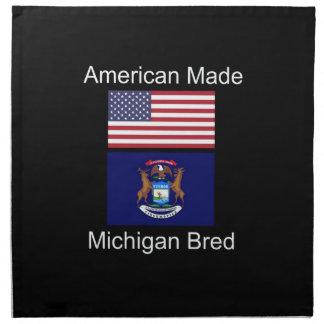 """""""American Born..Michigan Bred"""" Flag Design Napkin"""