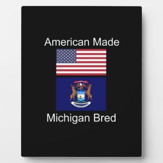 """""""American Born..Michigan Bred"""" Flag Design Plaque"""