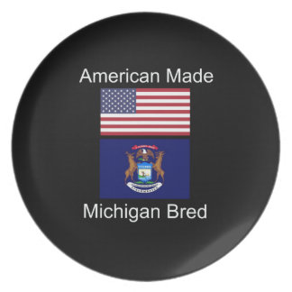 """American Born..Michigan Bred"" Flag Design Plate"
