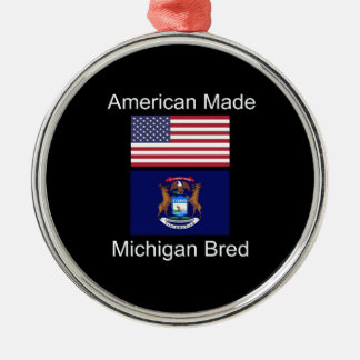 """American Born..Michigan Bred"" Flag Design Silver-Colored Round Decoration"